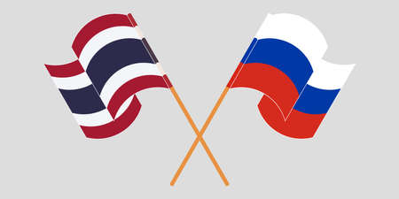 Crossed and waving flags of Thailand and Russia. Vector illustration Çizim