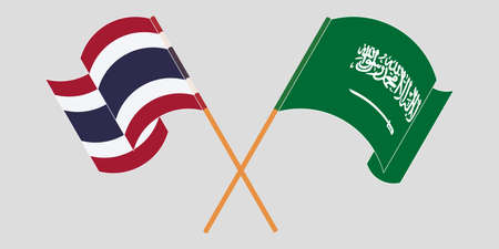Crossed and waving flags of Thailand and the Kingdom of Saudi Arabia. Vector illustration