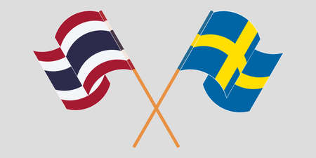 Crossed and waving flags of Thailand and Sweden. Vector illustration