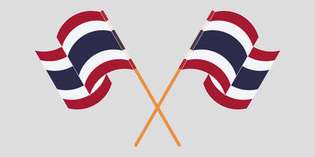 Crossed and waving flags of Thailand. Vector illustration Çizim