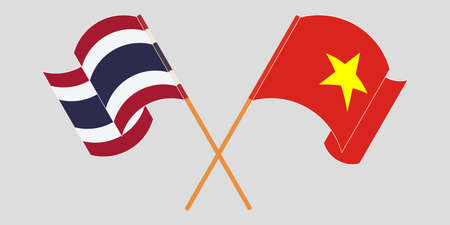Crossed and waving flags of Thailand and Vietnam. Vector illustration