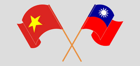 Crossed and waving flags of Taiwan and Vietnam. Vector illustration