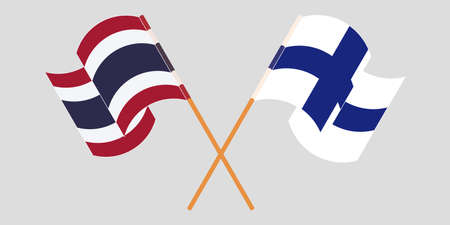 Crossed and waving flags of Thailand and Finland. Vector illustration