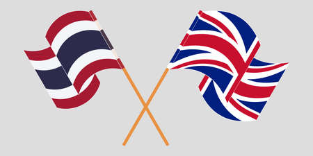 Crossed and waving flags of Thailand and the UK. Vector illustration