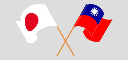 Crossed and waving flags of Taiwan and Japan. Vector illustration