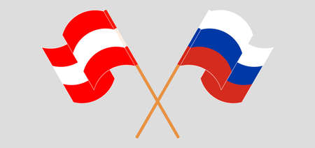 Crossed and waving flags of Austria and Russia. Vector illustration