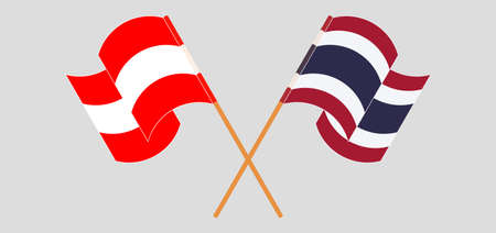 Crossed and waving flags of Austria and Thailand. Vector illustration