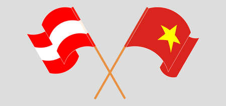 Crossed and waving flags of Austria and Vietnam. Vector illustration  イラスト・ベクター素材