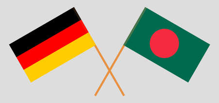 Crossed flags of Bangladesh and Germany. Official colors. Correct proportion. Vector illustration Stock Illustratie