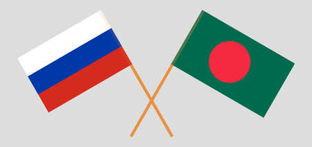 Crossed flags of Bangladesh and Russia. Official colors. Correct proportion. Vector illustration