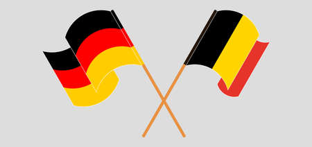 Crossed and waving flags of Belgium and Germany. Vector illustration Stock Illustratie