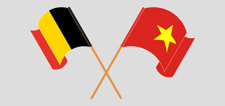 Crossed and waving flags of Belgium and Vietnam. Vector illustration