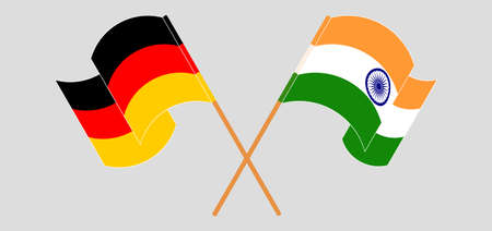 Crossed and waving flags of India and Germany. Vector illustration Stock Illustratie