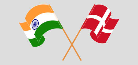 Crossed and waving flags of India and Denmark. Vector illustration