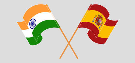 Crossed and waving flags of India and Spain. Vector illustration Illustration