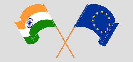 Crossed and waving flags of India and the EU. Vector illustration Illustration
