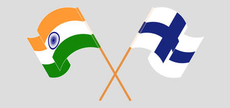 Crossed and waving flags of India and Finland. Vector illustration