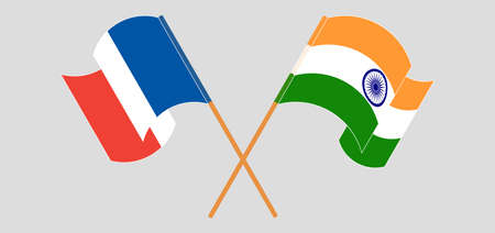 Crossed and waving flags of India and France. Vector illustration