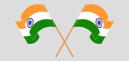Crossed and waving flags of India. Vector illustration