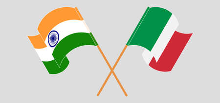 Crossed and waving flags of India and Italy. Vector illustration