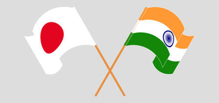 Crossed and waving flags of India and Japan. Vector illustration