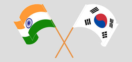 Crossed and waving flags of India and South Korea. Vector illustration Illustration