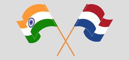 Crossed and waving flags of India and Netherlands. Vector illustration Illustration
