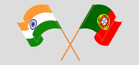 Crossed and waving flags of India and Portugal. Vector illustration