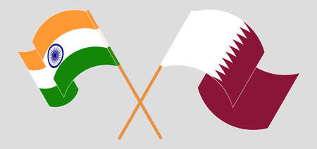 Crossed and waving flags of India and Qatar. Vector illustration