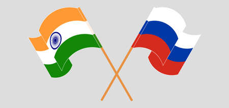 Crossed and waving flags of India and Russia. Vector illustration