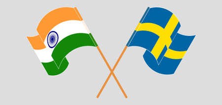 Crossed and waving flags of India and Sweden. Vector illustration