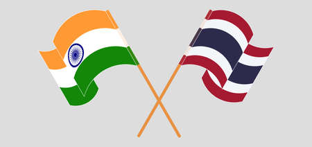 Crossed and waving flags of India and Thailand. Vector illustration