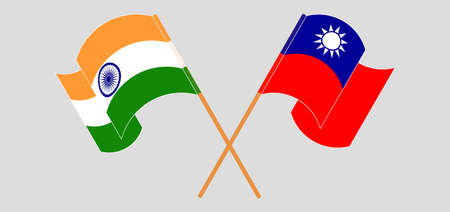 Crossed and waving flags of India and Taiwan. Vector illustration