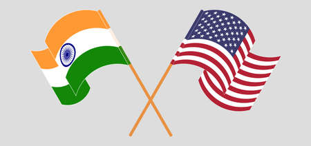 Crossed and waving flags of India and the USA. Vector illustration