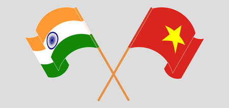 Crossed and waving flags of India and Vietnam. Vector illustration Illusztráció