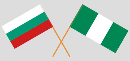 Crossed flags of Nigeria and Bulgaria. Official colors. Correct proportion. Vector illustration