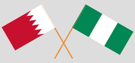 Crossed flags of Nigeria and Bahrain. Official colors. Correct proportion. Vector illustration
