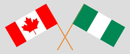 Crossed flags of Nigeria and Canada. Official colors. Correct proportion. Vector illustration 일러스트
