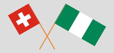 Crossed flags of Nigeria and Switzerland. Official colors. Correct proportion. Vector illustration 일러스트