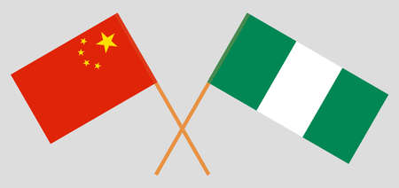 Crossed flags of Nigeria and China. Official colors. Correct proportion. Vector illustration