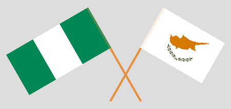 Crossed flags of Nigeria and Cyprus. Official colors. Correct proportion. Vector illustration 일러스트