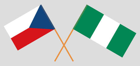 Crossed flags of Nigeria and Czech Republic. Official colors. Correct proportion. Vector illustration 일러스트