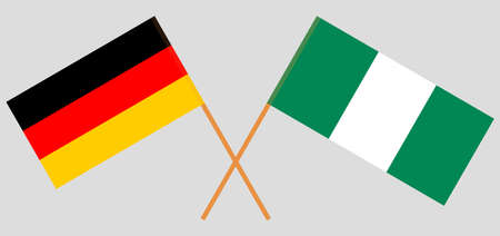 Crossed flags of Nigeria and Germany. Official colors. Correct proportion. Vector illustration Stock Illustratie