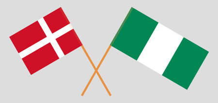 Crossed flags of Nigeria and Denmark. Official colors. Correct proportion. Vector illustration Çizim