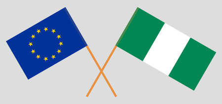 Crossed flags of Nigeria and the EU. Official colors. Correct proportion. Vector illustration 일러스트