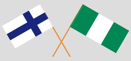 Crossed flags of Nigeria and Finland. Official colors. Correct proportion. Vector illustration
