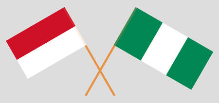 Crossed flags of Nigeria and Indonesia. Official colors. Correct proportion. Vector illustration 일러스트