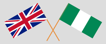 Crossed flags of Nigeria and the UK. Official colors. Correct proportion. Vector illustration