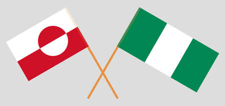Crossed flags of Nigeria and Greenland. Official colors. Correct proportion. Vector illustration 일러스트