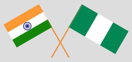 Crossed flags of Nigeria and India. Official colors. Correct proportion. Vector illustration 스톡 콘텐츠 - 151754510
